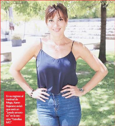 """??  ?? En su regreso al matinal de Mega, Karen Bejarano avisó que será un """"jurado amoroso"""" en la sección """"Estrellas MG""""."""