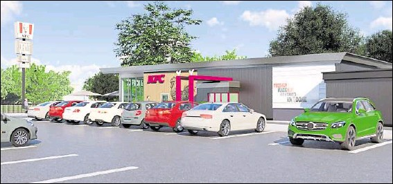 ??  ?? How the new Ashford KFC on Waterbrook Park in Sevington could look; the site will offer indoor and outdoor seating, as well as a drive-thru but residents at the nearby Finberry housing estate have concerns over a rise in dropped litter; Ashford's popular KFC on Eureka Leisure Park