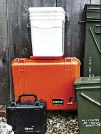 ??  ?? Left: Consider purchasing airtight, waterproof containers. Plastic buckets with tight-fitting lids, metal ammo cans and Pelican cases offer many size, shape and capacity options and prices for most any budget. Photos by Suzy Jeffries and Jim Jeffries.