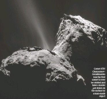 ??  ?? Comet 67P/ Churyumov– Gerasimenko was the first comet to ever be orbited and have a lander put down on the surface by a man-made object