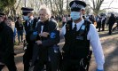 ?? Photograph: Ray Tang/Rex/ Shutterstock ?? Corbyn being arrested at an antilockdown protest in Fulham, west London, February 2021.