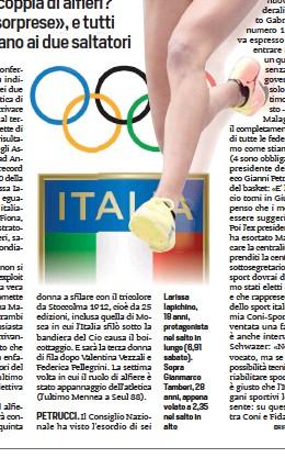 ??  ?? Larissa Iapichino, 18 anni, protagonista nel salto in lungo (6,91 sabato). Sopra Gianmarco Tamberi, 28 anni, appena volato a 2,35 nel salto in alto