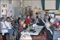 ?? Concentrating: ?? Residents and Benalla Rural City Council councilors at one of the BFRG workshops.