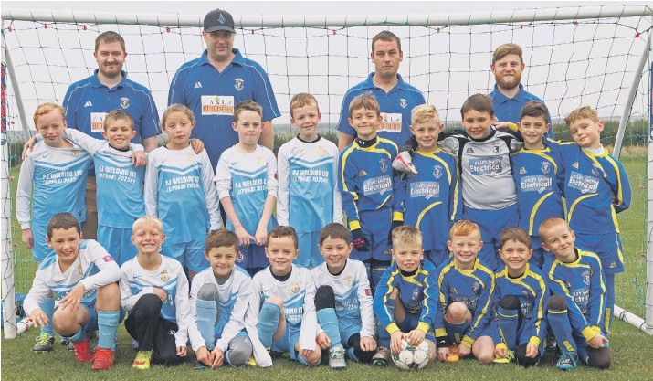 ??  ?? Cayton under-eight Kestrels, light blue, and Cayton under-eights Cougars, royal blue, line up in their new kits sponsored by PJ Welding Ltd and Exley Smith Electrical Picture: Steve Lilly