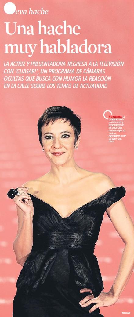 ??  ?? A la española. La comparan con la también actriz y presentadora de los Oscar Ellen DeGeneres por su carácter, expresividad, corte de pelo y ojos claros WIREIMAGE
