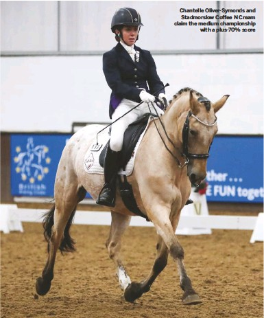 ??  ?? Chantelle Oliver-Symonds and Stadmorslow Coffee N Cream claim the medium championship with a plus-70% score