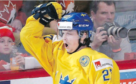 ?? —THECANADIANPRESS ?? Jonathan Dahlen, shown playing for Sweden in the world junior championship, opted to play the season in his home country instead of with the Canucks' AHL affiliate in Utica, N.Y.