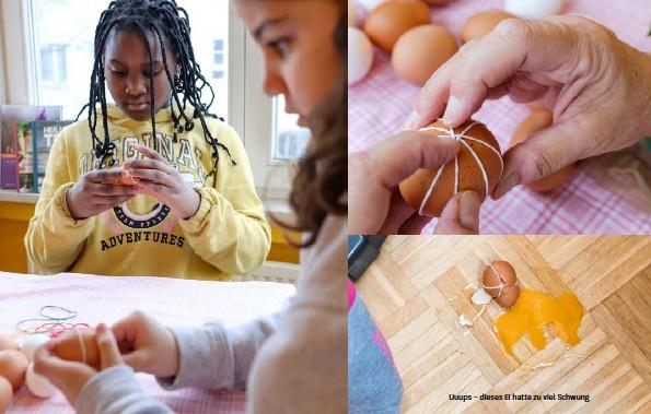 ??  ?? Über rohe Eier gespannte Gummibänder ergeben beim Färben fröhliche Streifenmuster. Aber Achtung: Die Bänder müssen straff sitzen Uuups – dieses Ei hatte zu viel Schwung