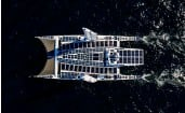 ??  ?? Over 200m² of solar panels on board, utilising different solar technologies, combine to produce 35kw of power.