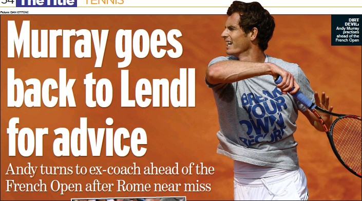 ?? Picture: DAN ISTITENE ?? DIRT DEVIL: Andy Murray practises ahead of the French Open