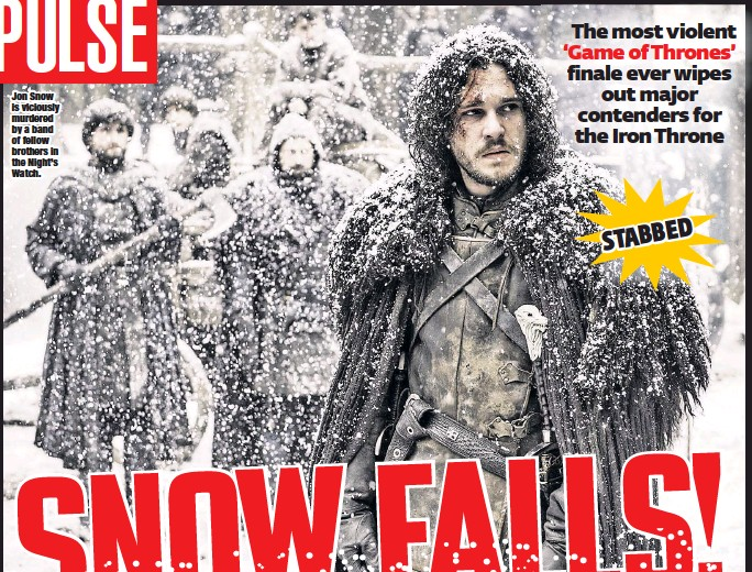 ??  ?? Jon Snow is viciously murdered by a band of fellow brothers in the Night's Watch.