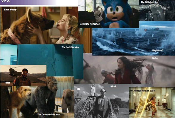 ??  ?? Birds of Prey Tenet The One and Only Ivan The Invisible Man Sonic the Hedgehog Mank The Midnight Sky Greyhound Mulan Wonder Woman 1984