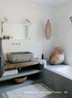 ??  ?? BATHROOM The downstairs bathroom (right) is adjacent to a guest bedroom and interestingly takes up the space of what was a very small kitchen. A stone basin adds character to the room – get the look with the 'Bowman' oval concrete sink from Schots Home Emporium. >
