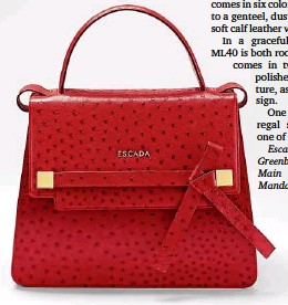 Escada Heritage Collection Ml40 Shoulder Bag In Soft Lamb Leather With Ornamental Print At Left Red Mini Tze Embossed