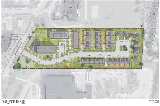 ?? COURTESY OF LE QUATRIÈME ?? Le Quatrième, also known as Espace MV4, stretches south from Bouchard Blvd. in Dorval and includes six single-family homes, 39 townhouses, three six-plexes and two condo buildings of five and eight storeys, respectively, for a total of 265 units on an...