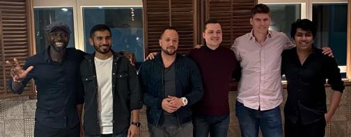 ??  ?? Izu Ani, Khaled Al Saadi, James Knight-Pacheco, Alex Stumpf, Brian Voelzing, and Himanshu Saini all attended the dinner.