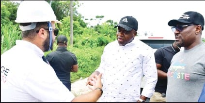 ??  ?? •From left: Paacie Construction Limited Managing Director Charbel Abi; Bayelsa State Governor Douye Diri and House of Assembly member Onye Isenah during the governor's inspection of the 4.5km Igbedi Community Road project...at the weekend