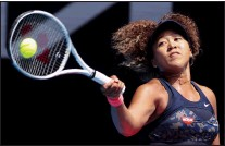 ?? AP PHOTO HAMISH BLAIR ?? Japan's Naomi Osaka hits a forehand return to Taiwan's Hsieh Su-wei during their quarterfinal match at the Australian Open tennis championship in Melbourne, Australia, Tuesday.