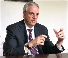 ?? Ernest A. Brown photo ?? Former U.S. Attorney Peter F. Neronha, of Jamestown, discusses his long career, his family, and future plans as Rhode Island Attorney General while sitting down for an interview with editors from the Woonsocket Call and Pawtucket Times on Thursday.