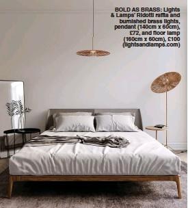 ??  ?? BOLD AS BRASS: Lights & Lamps' Ridotti raffia and burnished brass lights, pendant ( 140cm x 60cm), £ 72, and floor lamp ( 160cm x 60cm), £ 100 ( lightsandlamps. com)