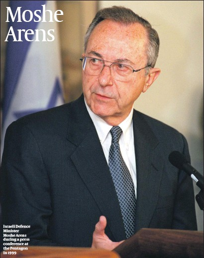 ?? PHOTO: HELENE C. STIKKEL ?? Israeli Defence Minister Moshe Arens during a press conference at the Pentagon in 1999