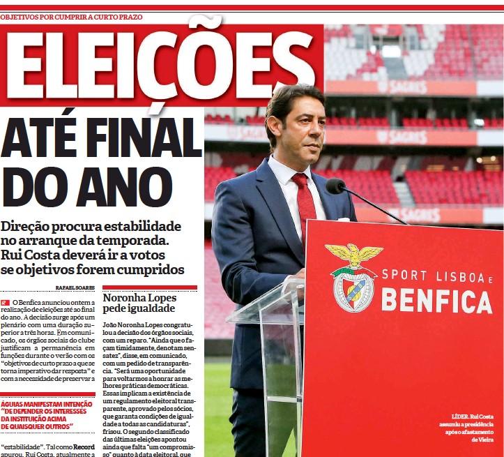 ??  ?? LÍDER. Rui Costa assumiu a presidência após o afastamento de Vieira