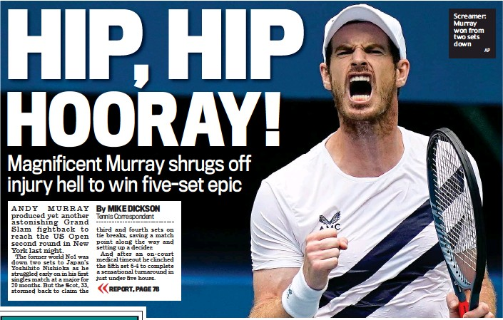 ?? AP ?? Screamer: Murray won from two sets down