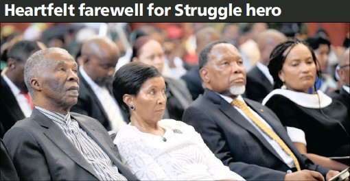?? PICTURES: NOKUTHULA MBATHA ?? PAYING THEIR RESPECTS: Former president Thabo Mbeki and his wife Zanele and former president Kgalema Motlanthe and his wife Gugu Mtshali were among the mourners at the memorial service for Struggle hero Indres Naidoo at the Johannesburg City Hall...