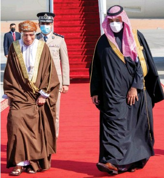 ?? SPA ?? Saudi Arabia's Crown Prince Mohammed bin Salman welcomes Omani Deputy Prime Minister Fahd bin Mahmoud Al-Said upon his arrival to attend the Gulf Cooperation Council's (GCC) 41st Summit in AlUla on Jan. 5, 2021.