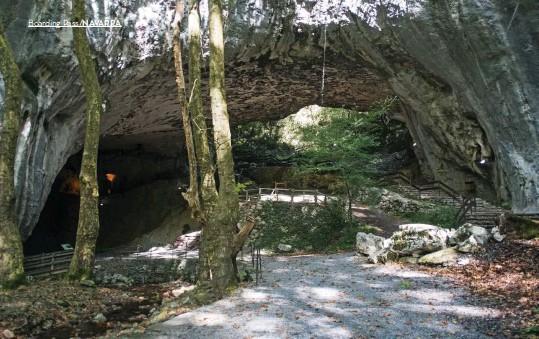 ??  ?? Belleza en verdes. La cueva de Zugarramurdi es una enorme bóveda creada por un río que ya nos discurre por ella. A la derecha: El eguzkilore, flor del sol, decora las puertas de las casas y ahuyenta a los malos espíritus. Molino de Amaiur. Abajo, el río Baztán pasa por la puerta del Señorío de Bertiz, allí cambia de nombre para conocerse como Bidasoa.
