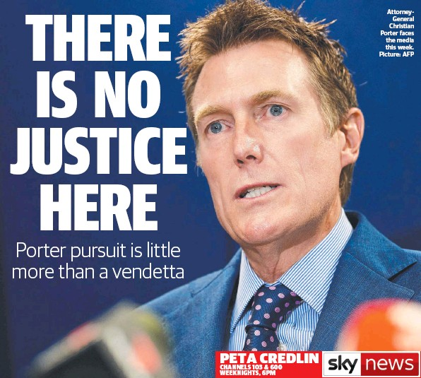 ??  ?? PETA CREDLIN CHANNELS 103 & 600 WEEKNIGHTS, 6PM AttorneyGeneral Christian Porter faces the media this week. Picture: AFP