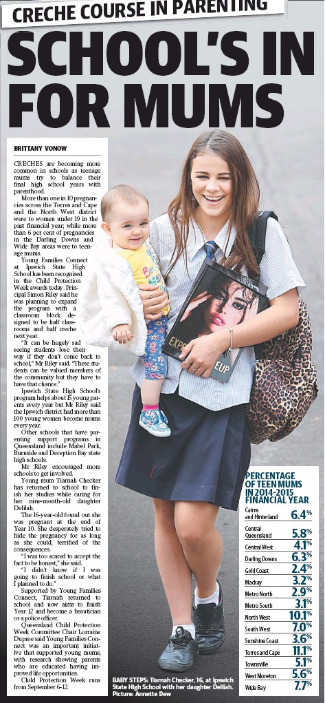 ??  ?? BABY STEPS: Tiarnah Checker, 16, at Ipswich State High School with her daughter Delilah. Picture: Annette Dew