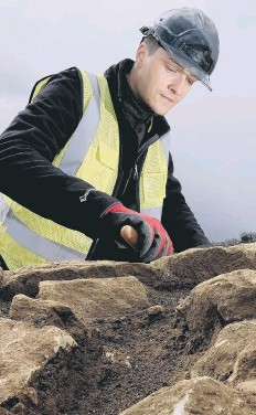 ??  ?? Photos show work at the site, with trainee field archaeologist Corey Greening, above left,