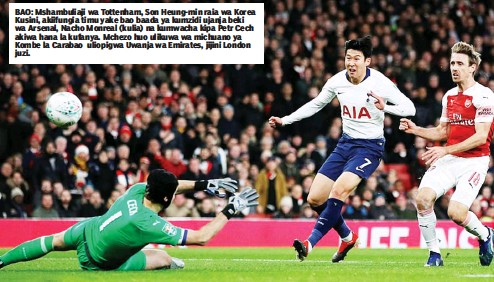 BAO Mshambuliaji Wa Tottenham Son Heung Min Raia Korea Kusini Akiifungia Timu Yake Bao Baada Ya Kumzidi Ujanja Beki Arsenal Nacho Monreal Kulia