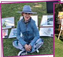 ??  ?? proudly. Tanja Lategan smiles among her pieces of art. RIGHT: Nathalie Wessels