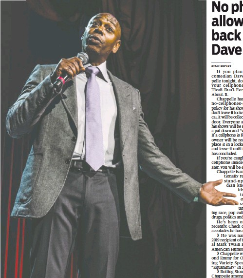 ?? MATHIEU BITTON/REX SHUTTERSTOCK/ZUMA PRESS/TNS ?? Dave Chappelle performs at Radio City Music Hall in August 2017 in New York City.