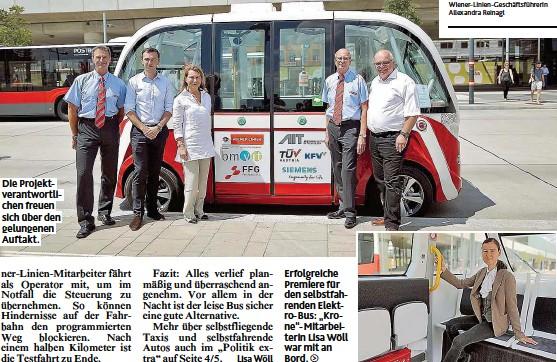 """??  ?? Die Projektverantwortlichen freuen sich über den gelungenen Auftakt. Erfolgreiche Premiere für den selbstfahrenden Elektro- Bus: """" Krone""""- Mitarbeiterin Lisa Wöll war mit an Bord."""