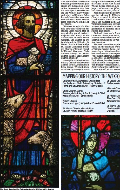 ??  ?? The Good Shepherd by Catherine Amelia O'Brien, at St. Anne's Church of Ireland, Killane. St. Brigid, by Hubert McGoldrick, at Kiltennel Church.