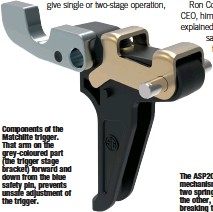 ??  ?? Components of the Matchlite trigger. That arm on the grey-coloured part (the trigger stage bracket) forward and down from the blue safety pin, prevents unsafe adjustment of the trigger.