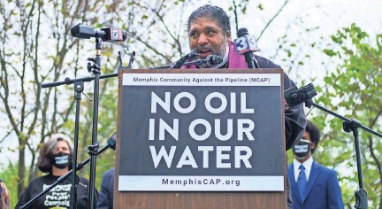 ?? BRANDON DAHLBERG / FOR COMMERCIALAPPEAL.COM ?? Reverend Dr. William J. Barber II speaks to the attendees of a community rally against the Byhalia Connection pipeline on Sunday, April 18, 2021, in Memphis.