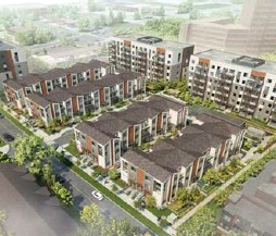 ?? DANIELS CORP. PHOTOS ?? The Scarborough development project will include 100 townhomes and 228 condo suites in three six-storey buildings.
