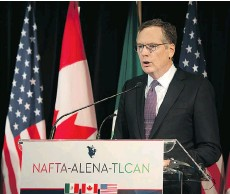 ?? PETER MCCABE/AFP/GETTY IMAGES ?? Robert Lighthizer, the U.S. trade representative, has questioned whether the perceived unfairness in the trade gap between Canada and the U.S. was partly caused by NAFTA.
