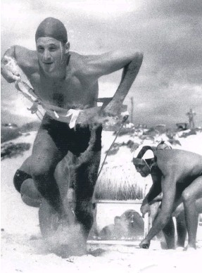 ??  ?? Rod Baker in action as a young surf lifesaver.