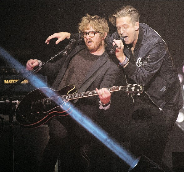 """?? BRUCE EDWARDS/ EDMONTON JOURNAL ?? OneRepublic performed in concert at Rexall Place on Wednesday night. Sandra Sperounes writes that the band was """"more friendly than flamboyant."""""""