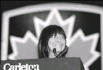 ?? BRUNO SCHLUMBERGER,THE OTTAWA CITIZEN ?? Buffy Sainte-Marie gives a speech at Carleton's convocation ceremonies. During her spirited address, which was book-ended by hearty standing ovations, Ms. Sainte-Marie admitted she has always been a consummate bibliophile and information-seeker.