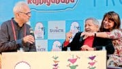 ??  ?? V.S. Naipaul in conversation with Farrukh Dhondy during the literary festival in Jaipur on Saturday. — PTI