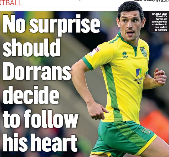 ??  ?? EASILY LED: Norwich's Dorrans is someone who could be sold on a switch to Rangers