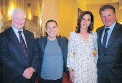 ??  ?? From left, former governor general David Johnston, Harley Finkelstei­n, COO of Shopify and emcee for the evening, French Ambassador to Canada Kareen Rispal and former Ottawa Senator Daniel Alfredsson.