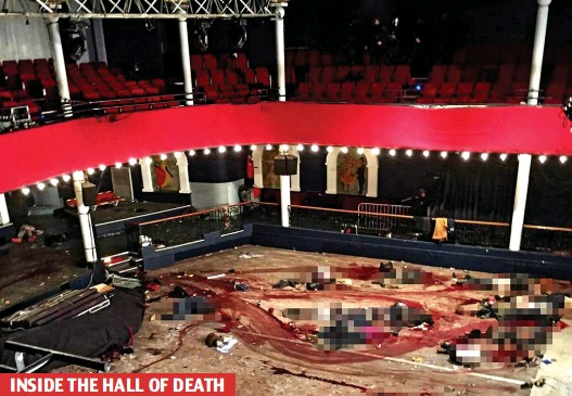 ??  ?? INSIDE THE HALL OF DEATH Monstrous: This picture is distressing but we print it to show the true horror of the attack. The victims' bodies have been pixelated