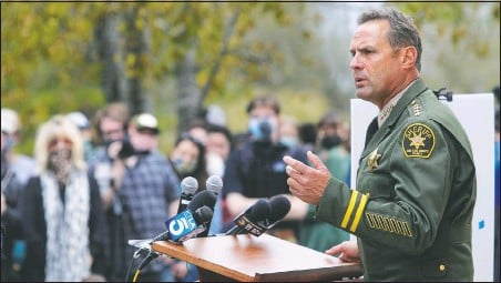 ??  ?? San Luis Obispo County Sheriff Ian Parkinson answers questions at a news conference Tuesday in San Luis Obispo, Calif., on arrests connected to the disappearance of Kristin Smart. (San Luis Obispo Tribune/David Middlecamp)